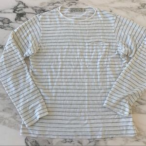 Shipley & Halmos Gray White Stripe Long Sleeve Tee